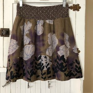 Free People Linen Smocked Floral Mini Skirt S